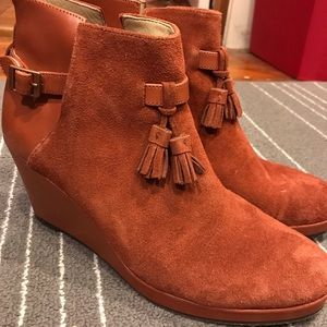 Wolverine brown leather wedge tassel booties 10